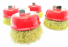 65mm Brass Crimp Wire Cup Brush M14 Set Of 4 WB009 For Grinders / Drills New