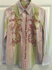 Robert Graham Fabulous Highly Embroidered High Style Button Down Blouse Small