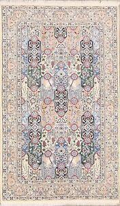 Floral Nain Wool&Silk Handmade Animal Design Oriental Arae Rug Fine Carpet 5'x8'