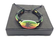 RASTA WEED LEAF BRACELET RED GREEN YELLOW BLACK LEATHER NEW STYLE
