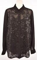 MICHAEL KORS Women's Sequin Blouse, Black, size XS