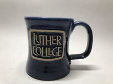 Deneen Pottery Luther College Iowa Mug Drip Glaze Dark Blue 2015 USA Hand Thrown