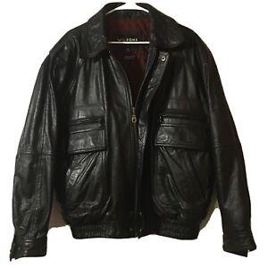 Vintage Wilsons Leather Bomber Biker Jacket Black Mens Size XL Quilted Liner