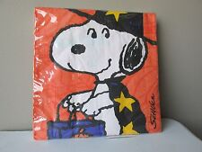 "Peanuts Snoopy & Woodstock Halloween Party Napkins Large (6-1/2"") Set of 16 New"