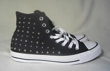 CONVERSE ALL STARS HIGH TOP BLACK WITH GOLD/SILVER STUDD SNEAKERS  WOMENS SIZE 9