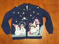 Vtg Heirloom Collectibles Ugly Christmas Sweater Cardigan Womens S Snowman