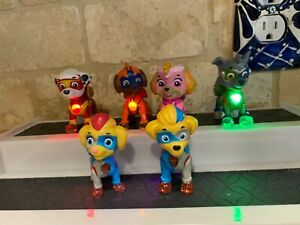 Paw Patrol Mighty Pups Light Up Badge Rocky ,Marshall , Skye ,Zuma  Figures HTF