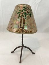 Palm Tree Mosaic Shade Votive Tabletop Candle Lamp Metal Base Candle Lamp