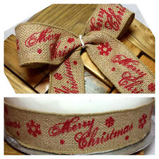 Wired Edge Natural Rustic Burlap Hessian Ribbon Merry Christmas 50mm 1 Metre