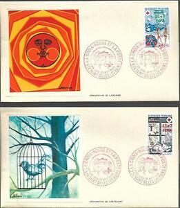 431/2+ FDC 2 ENVELOPPES     1er JOUR    CROIX ROUGE 1974