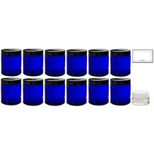 Cobalt Blue Glass Straight Sided Jar - 4 oz (12 Pack) + Labels + Small Balm Jar