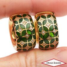 Estate Italian Diamond Emerald 18K Gold Floral Wide Hoop Earrings 17.5 Grams NR