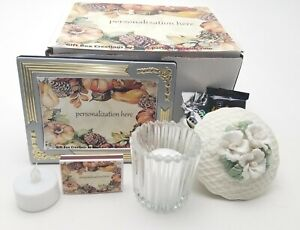 Birthday gift box with ceramic trinket box, frame, candle, candy