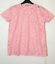PINK SHEER LADIES TOP BLOUSE FLORAL SIZE 8 ATMOSPHERE LACE