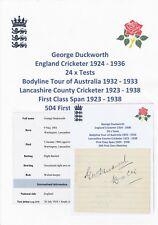 George duckworth Inghilterra Giocatore di Cricket ceneri Bodyline Tour 1932-33 RARA firmato a mano