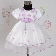 Flower Girl Party Bridesmaid Christening Dress Lilac Pink White 0 3 6 9 12 18 M