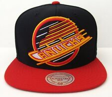 Vancouver Canucks Mitchell & Ness XL Logo Snapback Black Red