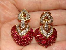 HVY 18K Solid YG Natural Ruby Diamond Heart Shape Earrings 23.1 Grams SEND OFFER