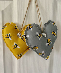 Handmade fabric Hanging Hearts 10.5 cm Set of 2 Bee On Mustard Gold And Grey.