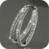 Fashion Women 9K Gold Filled Silver CZ Crystal Big Hoop Huggie Earrings Jewelry