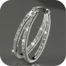 Fashion Women 9K Gold Filled Silver CZ Crystal Big Hoop Earrings Jewelry