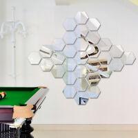 12Pcs 3D Mirror Hexagon Vinyl Removable Wall Sticker Decal Home Decor Art Silver