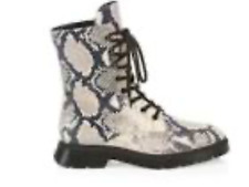 Stuart Weitzman Mckenzee Python Embossed Leather Combat Boots Size7.5 New in Box