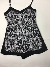 OASIS Black White Floral Contrast Trim Strappy Shorts Playsuit with Pockets UK12