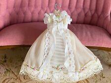 Vintage Miniature Dollhouse ARTISAN Silk Lace Hand Embroidered Girls Dress 1:12