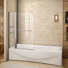 180° Pivot Bath Shower Screen 1000x1400 6mm NANO Glass With Shelves Towel Rail Q