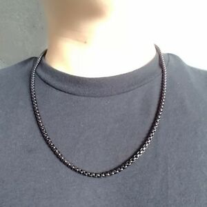 Black Gold Onyx 316L Stainless Steel Round BOX CHAIN Link Men's Necklace