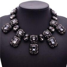 Grau Glas Strass Statementkette Halskette Collier Kette Glamour schwarz neu edel