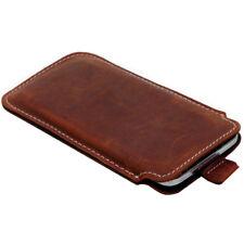 Echt Leder Tasche für Huawei P20 P20 Lite Handy Case Schutzhülle Etui Braun