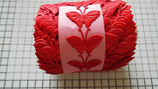2m -Red, Butterfly Motif - Applique,Trimmings,Wedding, Satin Lace Ribbon- W-3cm