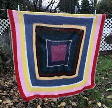 Boho Handmade Crochet Afghan Knitted Pink Yellow Blue Throw Blanket 44X47