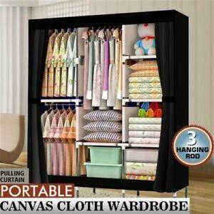 Large Portable Fabric Canvas Wardrobe w/ 2 Hanging Rail Clothes Storage Cupboard