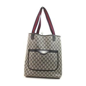 Vintage Gucci Tote Bag GG Sherry Navy Blue PVC 1419890
