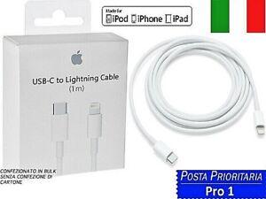 CAVO DATI ORIGINALE LIGHTNING TIPO C FAST APPLE IPHONE 11 X XS 12 11 PRO XS MAX
