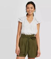 Women's Flutter Short Sleeve Blouse - A New Day - M/XL - Gray - C519