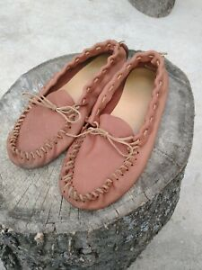 Genuine Leather Handmade Moccasins Men's 11 To 12 Women's 9 To 10 padded sole