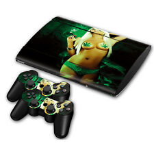 PS3 PlayStation 3 Super Slim Skin Design Aufkleber Schutzfolie - Cannabis Girl