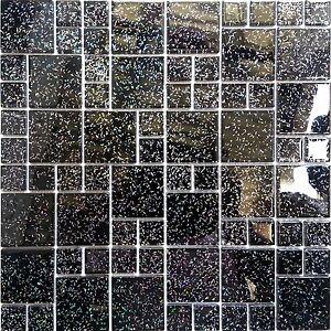 Black Glitter Size Mix Glass Mosaic Tiles Sheet 300x300x4mm (MT0011)