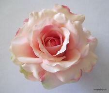 "5"" Variegated Soft Pink Rose Silk Hair Clip,Pin Up,Updo,Hat,Bridal,Rockabilly"