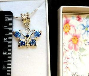 Birthday Silver Plated Crystal Butterfly Necklace 18 inch Chain in Gift Box V2