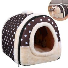 Pet House Sofa Bed 2 in 1 Foldable Mat Dual Doors Dog Cat Warm Pet Nest Brown