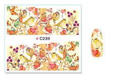 Birds Butterflies Flowers Nail Art Water Transfer Decal UV Acrylic Polish Design