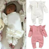 Infant Newborn Baby Girl Ruffle Bodysuit Romper Jumpsuit Babygrow Outfit Clothes