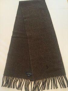 Polo Ralph Lauren Men's Wool Blend Plaid Scarf Black Gray Pony Logo Italy