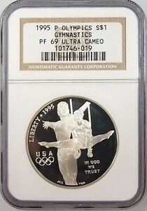 1995 P Proof Gymnastics Silver Dollar, PF 69 Ultra Cameo by NGC! NO RESERVE!