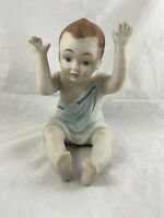 "Vintage Sitting Boy Piano Baby Figurine 7"" Inch Tall Hand Painted Bisque"